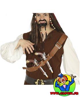 Sangle de poitrine avec deux pistolets de pirate