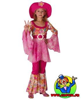 Déguisement enfant hippie fille rose