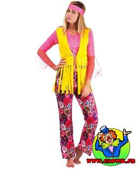 Déguisement adulte hippie femme rose et jaune