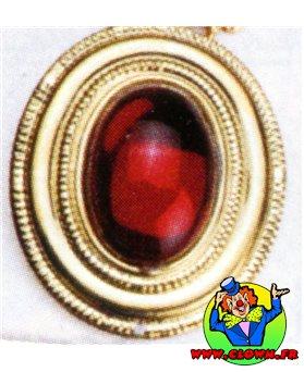 Bague fausse pierre n1 rouge ovale avec bordure