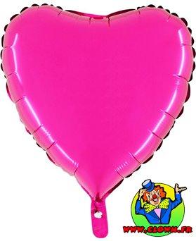 Ballon mylar métallisé coeur fuchsia
