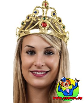 Diadème de reine N3 dorée avec pierres colorée