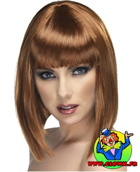 Perruque glamour chatain lisse
