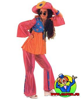 Location déguisement Hippie rose et orange