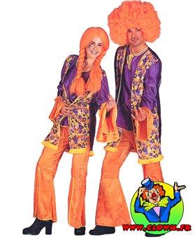 Location déguisement Hippie orange et violet