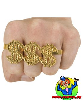 Bague dollar multi-doigts dorée