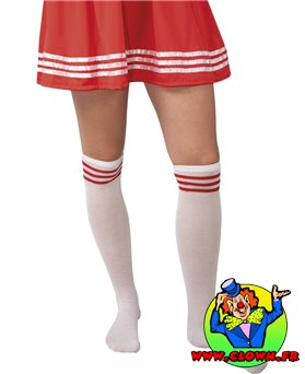 Chaussettes de pom pom girl blanc et rouge