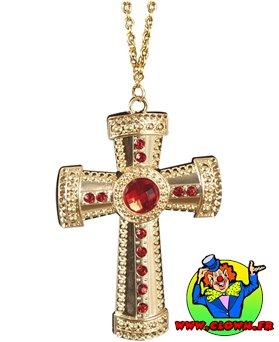 Collier croix or et fausses pierres rouges métal
