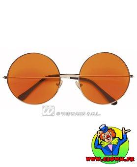 Lunettes métal rondes Hippie orange
