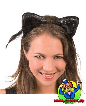 Serre tete oreilles de chat noir velours