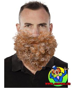 Moustache et barbe frisée chatain