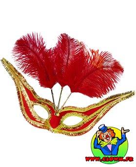 Loup élégant rouge avec plumes rouges