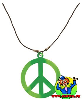 Collier hippie peace and love fluorescent