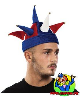 Chapeau de bouffon - bleu, blanc, rouge