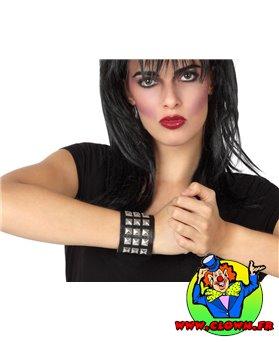 Bracelet punk rocker noir