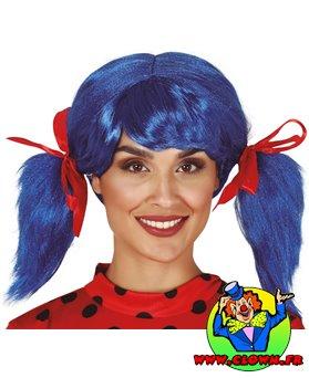 Perruque bleue avec des couettes et rubans