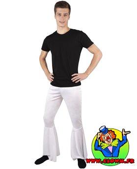 Pantalon pattes d'éph extensible homme blanc