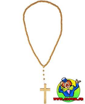 Collier croix de moine bois