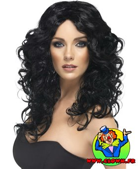 Perruque glamour noir frisé