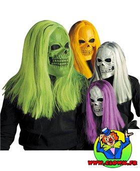 Masque skull perruque fluo