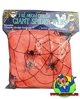 Toile d'araignée orange avec 2 araignées