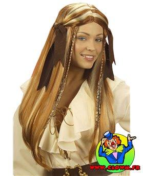 Perruque femme pirate des caraibes avec rubans
