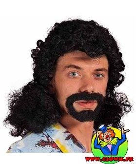 Perruque et barbe JACKY noir
